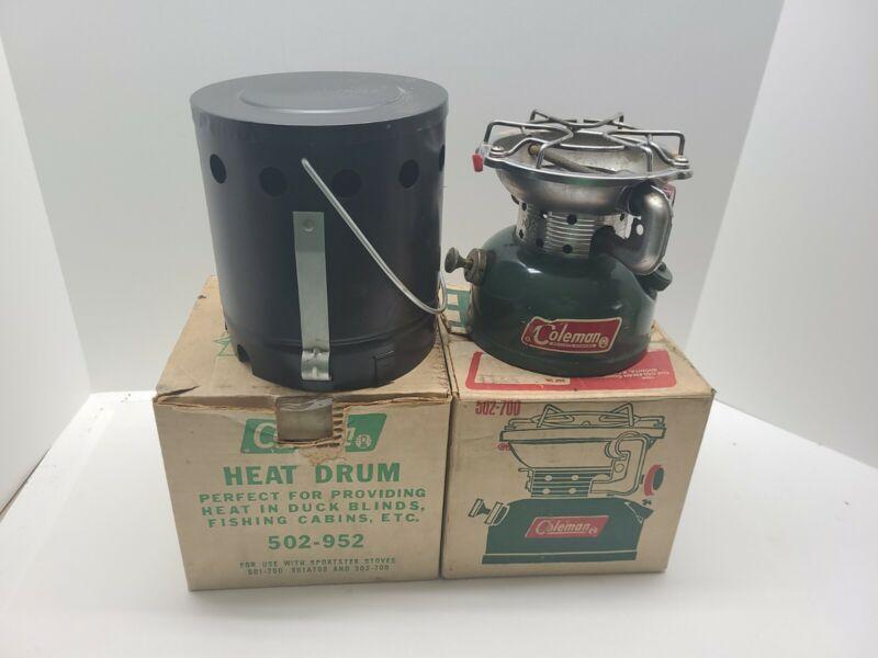 Vintage Coleman Model 502 Camp stove - With Heat Drum, Pot/Pan Case