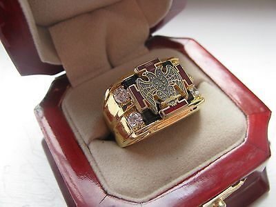 Superb NEW! Gents Scottish Rite 30 Degree Crest Ring