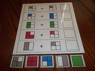 Square Fraction Addition  Laminated Educational Game. Pre-K thru 4th Grade.