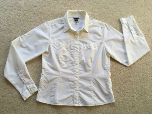 WOMENS THE NORTH FACE WHITE LONG SLEEVE BUTTON UP SHIRT SZ M EXCELLENT CLEAN!