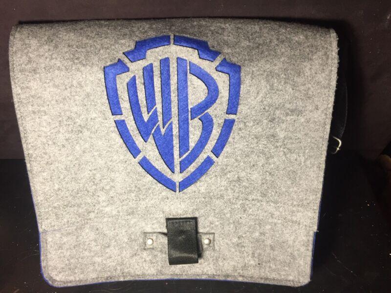 WARNER BROTHERS WB Logo Felt Messenger Laptop Tablet Gray Blue Crossbody Bag