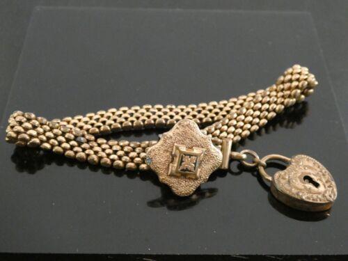 Antique Victorian GF Ornate Padlock Heart Charm Slide Chain Bracelet Size 8