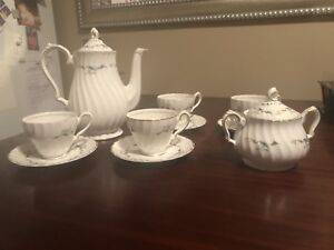 "Myott's ""China Lyke"" 8 piece Bone China Coffee Pot Set"