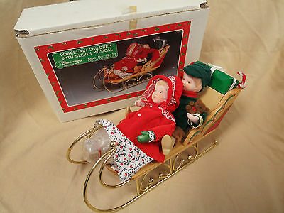 Christmas Around the World Porcelain Children w Sleigh Musical Vintage in Box
