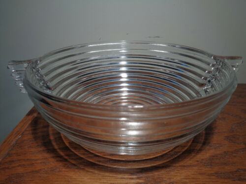 Vtg Anchor Hocking MANHATTAN Clear Berry Bowl Ribbed Handled 7-3/8""