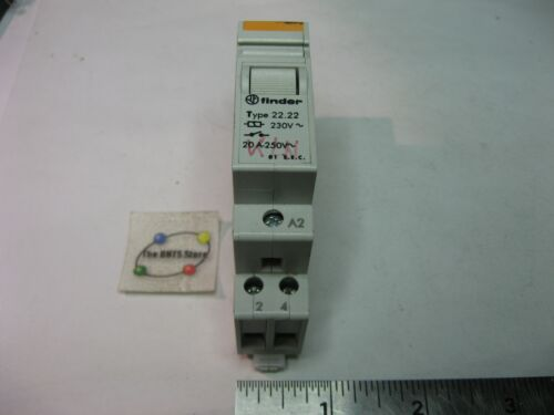 Finder Type 22.22 Relay 250V 20A 230VAC Coil DPST-NO DIN Mount USED Qty 1
