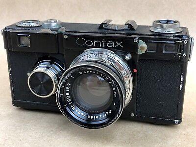 Contax If Black Rangefinder Camera w/ Carl Zeiss 5cm f/2 Sonnar - Rare