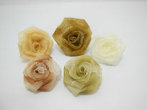 100 Hand Craft Organza Rose Flower Embellishments Mixed Color