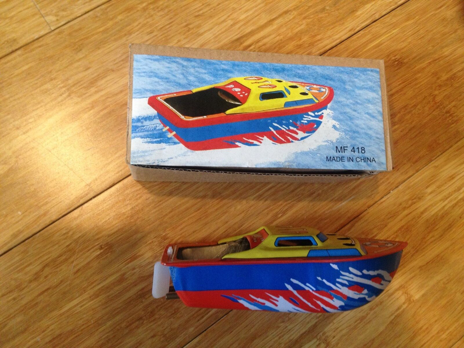 """Colorful Pop Pop Boat Tin Toy Candle  """"boiler""""  Powers boat"""