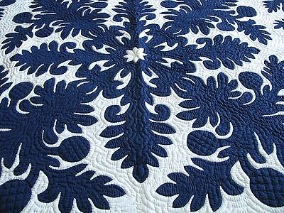 Hawaiian quilt BEDSPREAD wall hanging HANDMADE 100% hand quilted/appliqued 80""