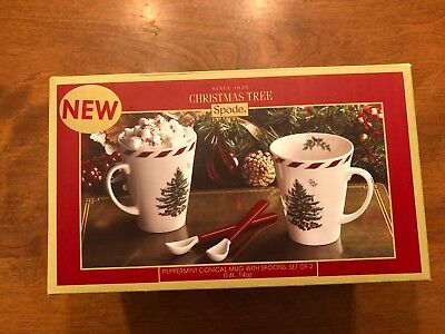 NEW SPODE CHRISTMAS TREE CANDY CANE STRIPES DESIGN TWO TALL MUGS & SPOONS - Candy Cane Spoons