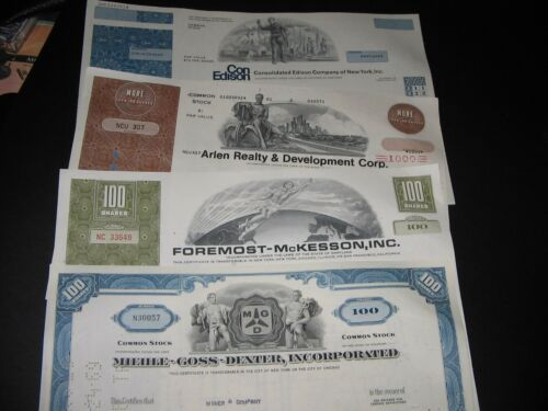 LOT OF ( 4 ) VINTAGE STOCK CERTIFICATES AND 6 BASEBALL CARDS