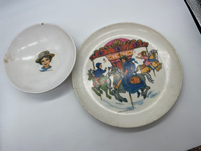 Vintage 1964 MARY POPPINS Melamine Plastic Plate 7 inches