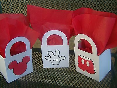 Set of 12 Mickey Mouse small party treat bags 3 in. x 3 in. x 2.25 in. - Mickey Mouse Party Bags