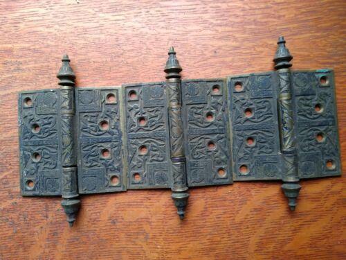 "Three Victorian Ornate Fancy Antique 4"" Cast Brass Door Hinges Steeple Tip c1885"