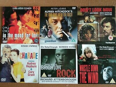 6 DVDs: In the Mood for Love, Don't Look Now, Charade, Whistle Down the Wind...