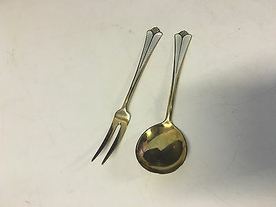 Vtg David Andersen Norway Sterling Silver Gilt Wash Enamel Pickle Fork & Spoon
