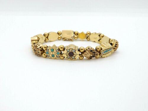 Antique Victorian 14K Gold Slide Seed Pearl Turquoise Gemstone Charm Bracelet