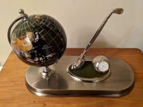 Stunning Silver Golf Executive Quartz Clock Globe Pewter Pen Holder Desk Set