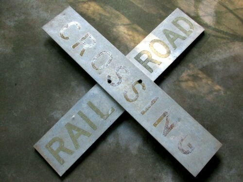 "48"" 4 Ft Antique Vintage Old Aluminum Reflective Railroad Train Crossing Sign"