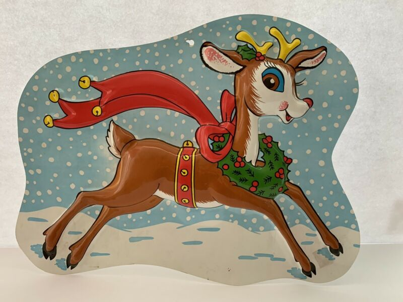 Vintage Christmas Rudolph The Reindeer 3D Plastic Hanging Decoration