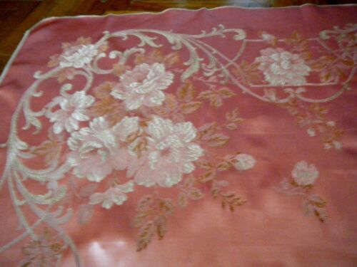"""Antique 19c Tapestry Pink Silk Roses &foliage  Heavy linen Fabric 72x82"""" Europe"""