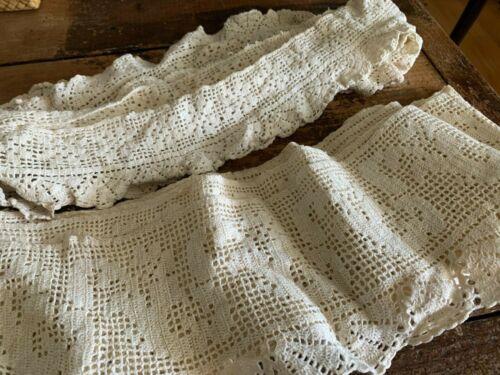 Lot 2 Wide Pieces Hand Made Crochet Trim Lace 8 Yards Victorian Antique Vintage