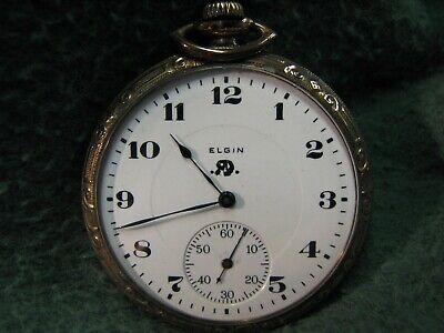 1921 Elgin Pocket Watch 12s 17j Grade 345 W/ Gold Filled B&B Royal Watch Case