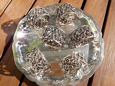6 kleine alte Serviettenringe 835 Silber