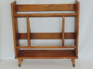 Mid Century Modern Solid Wood Bookcase Shelf Book Peg Leg Encyclopedia Danish