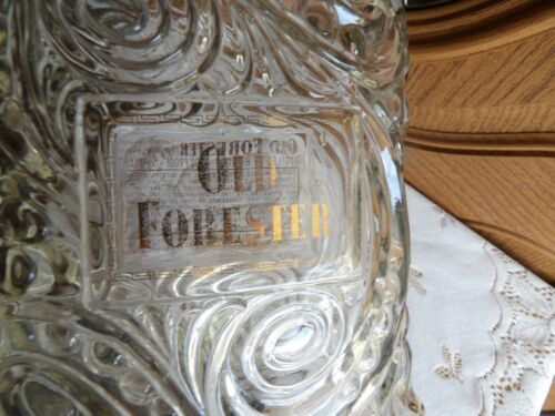 Old Forester Vintage Kentucky Bourbon empty whiskey bottle decanter glass emboss