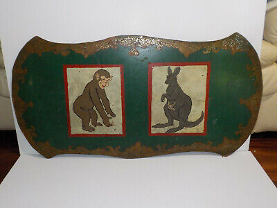 Vintage Carnival Like Sign Circus Zoo KANGAROO & CHIMP Hand Painted Wood Fiber