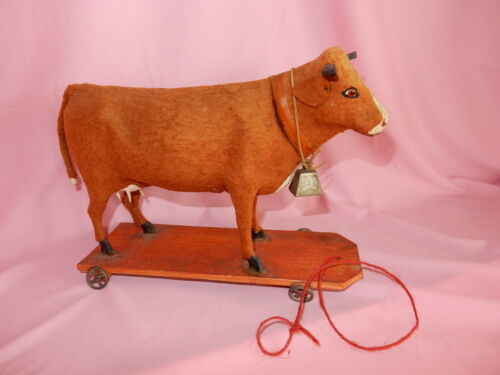 EXCELLENT Early Antique German Cow Pull Toy