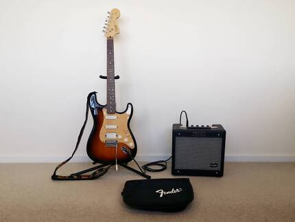 Fender squire stratocaster electric guitar & amp