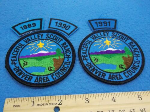 LOT OF 2 - PEACEFUL VALLEY SCOUT RANCH PATCHES & 3 SEGMENTS - MINT