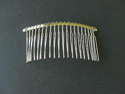 10 SILVER TONE METAL COMB SHAPE HAIR SLIDE CLIP TIARA WEDDING ACCESSORIES  8x4cm