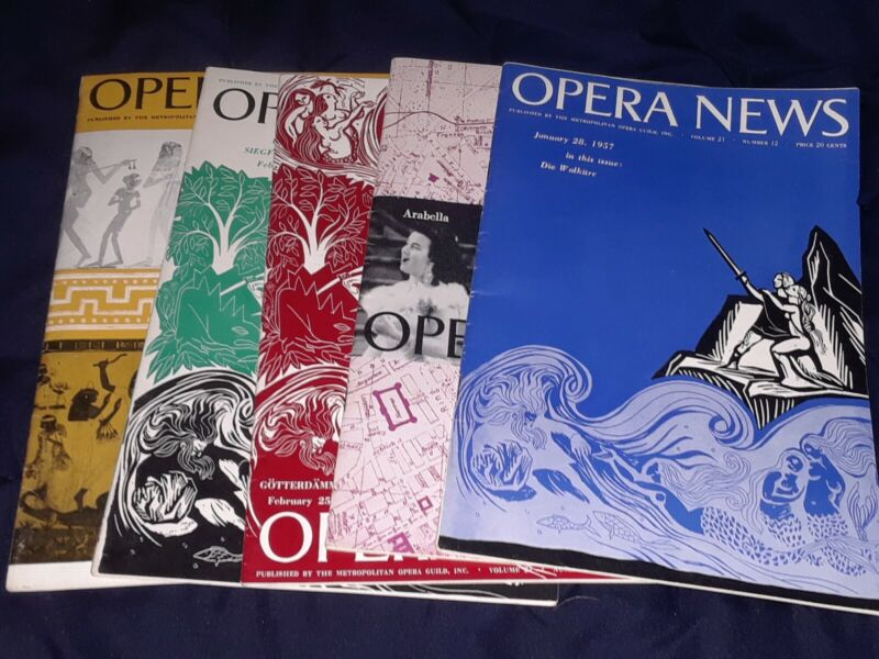 Five 1957 Opera News Magazines