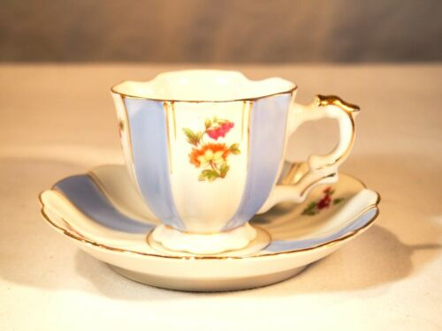 UCaGCo Occupied Japan Floral Matching Blue Decorated Teacup & Saucer Porcelain