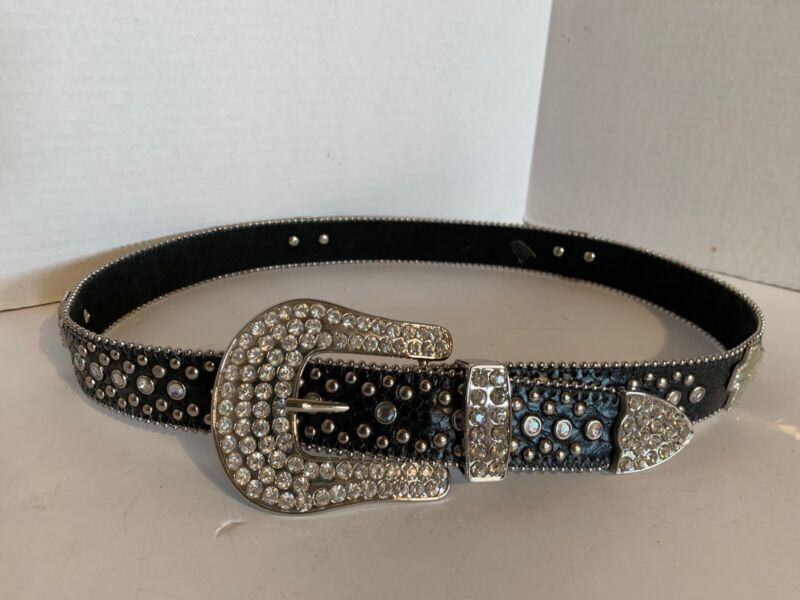 Womens M/L Western Black Leather Cross Crystals Removable Horseshoe Buckle Belt
