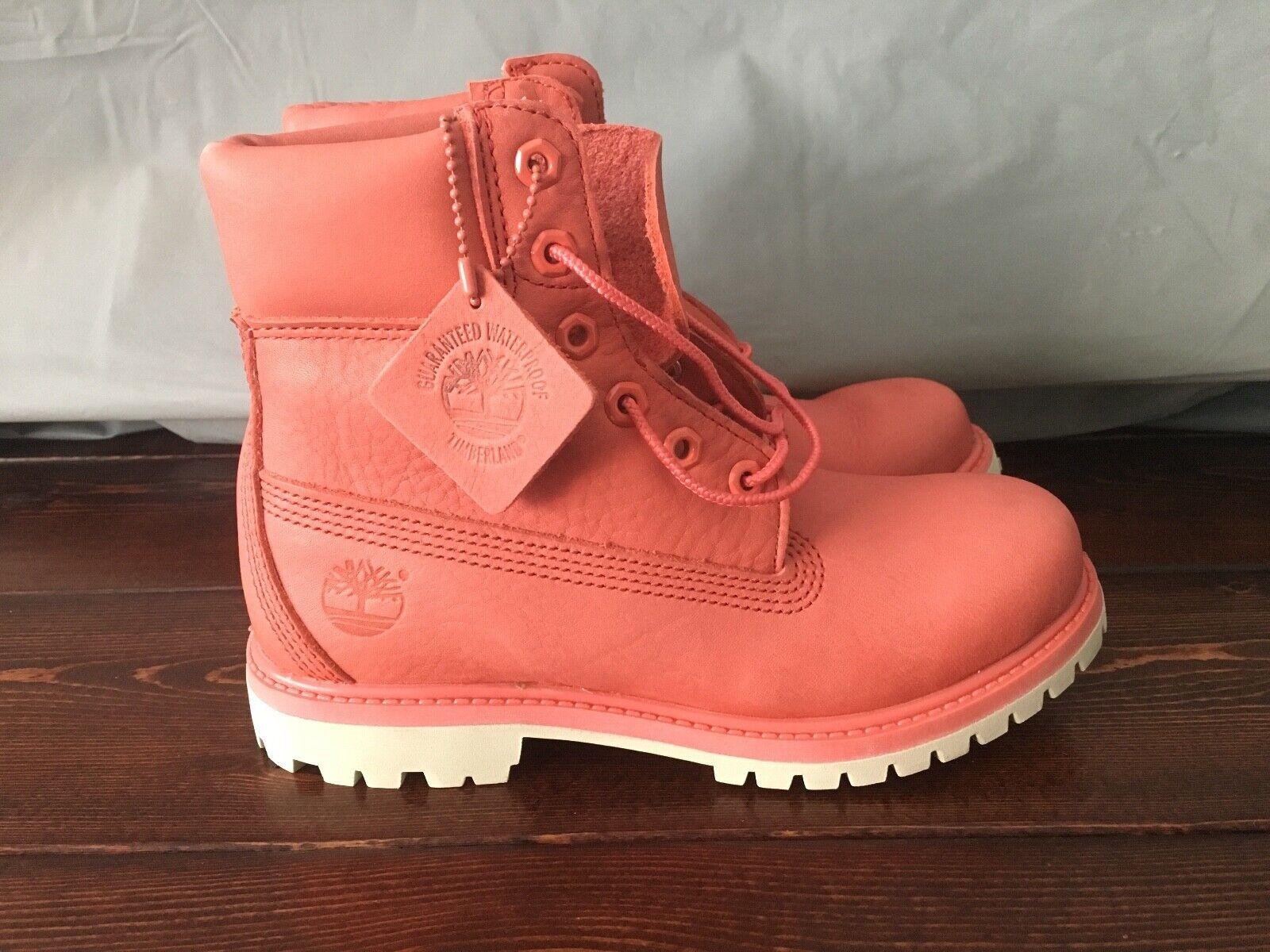 "Timberland Women's Premium 6"" Inch Waterproof Boots Coral Dark Pink A1AQK"