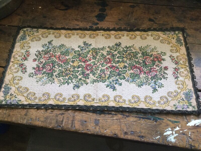 Antique Vintage Table Runner~Dresser Scarf Brocade Floral Metal Thread Trim