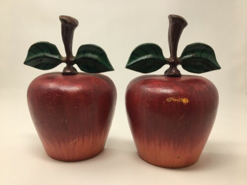 Metal BOOKENDS Red Apples Green Leaves Almost 5 Pounds