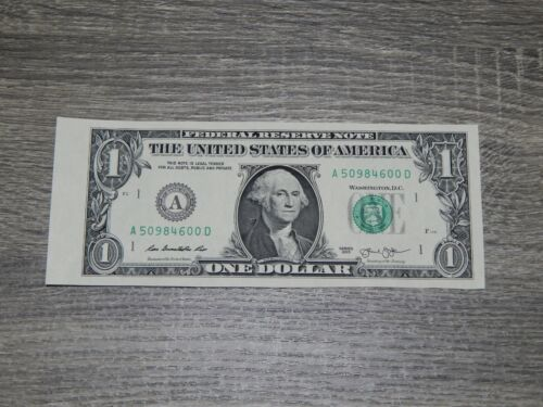 U.S. $1 One Dollar Bill Left side cut from sheet of currency New Uncirculated