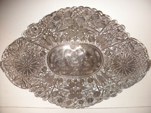Fine Antique Chinese 19thc Qing dynasty Filigree Silver Dragon butterfly tray