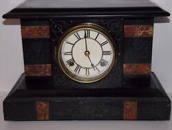 ANTIQUE EARLY 1900'S WATERBURY WOOD MANTLE CLOCK - WORKS!