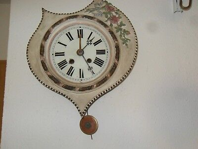 Wanduhr, Schwarzwalduhr - Bauernuhr, Stuckschild Uhr um 1890, Federaufzug Wecker