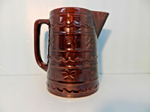 "Vtg Brown Drip Marcrest Daisy & Dot Oven-Proof Stoneware Pitcher 8"" BEAUTIFUL"