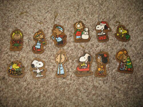 Vintage Peanuts Snoopy Hand Painted Christmas Tree Ornaments. (12). Rare.