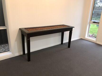 Mahogany Hallway Table with Rattan Inserts