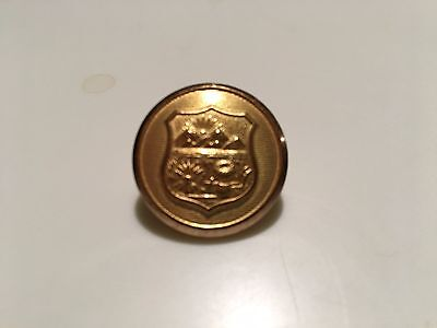 """POLICE BUTTON EMBOSSED WITH STATE OF OHIO SEAL, GOLD PLATED, 1"""""""